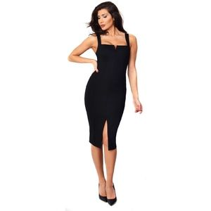 Shinestar Black Front Slit Dress